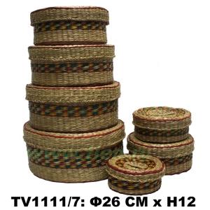 Шкатулки соломенные  круглые  набор 7 в 1 (красный)  TV1111/7-D