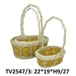 Корзинка ротанговая овальная 3 в 1 TV2547/3-5 (бело-жёлто)