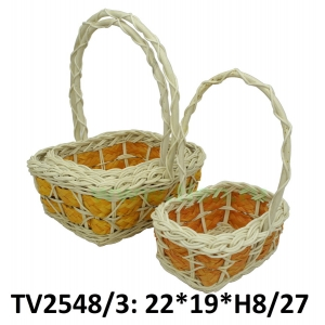 Корзинка ротанговая прямоугольная 3 в 1 TV2548/3-3 (бело-оранжевый)