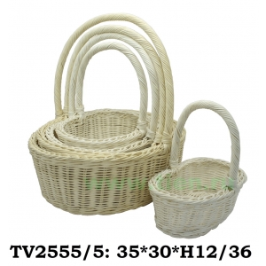 Корзинка ротанговая овальная 5 в 1 TV2555/5-1 (белый)