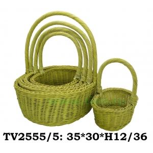 Корзинка ротанговая овальная 5 в 1 TV2555/5-4 (жёлто)