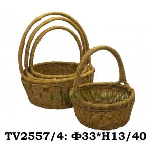 Корзинка ротанговая круглая 4 в 1 TV2557/4-4 (коричневая)