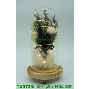 Искуственные цветы в стеклянной колбе TV3723-2
