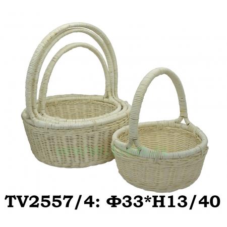 Корзинка ротанговая круглая 4 в 1 TV2557/4-1 (белый)